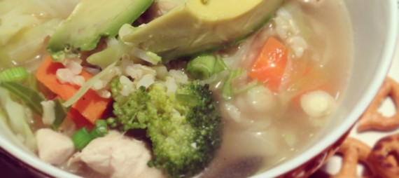 """""""Kitchen Sink"""" Soup with Chicken and Brown Rice"""