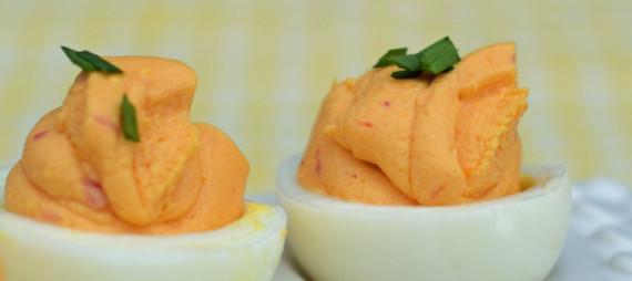 Divine Deviled Eggs ~ with Pimento Cheese