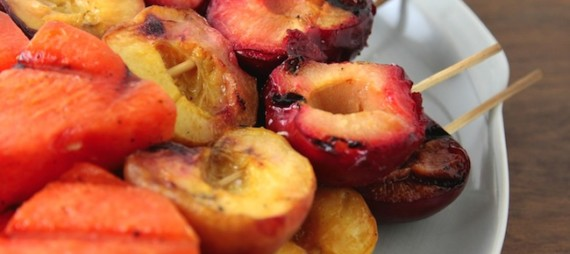 Grilled Peach, Plum and Watermelon Skewers