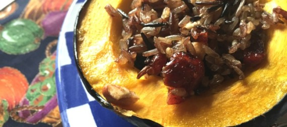 Pecan, Cranberry and Wild Rice Stuffed Acorn Squash