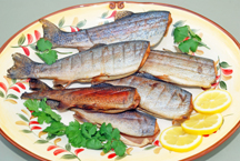 Beautiful platter of smoked trout.