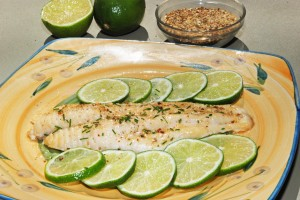 This picture shows a beautifully seasoned, lime broiled catfish, accented by limes on an intricately designed dish.