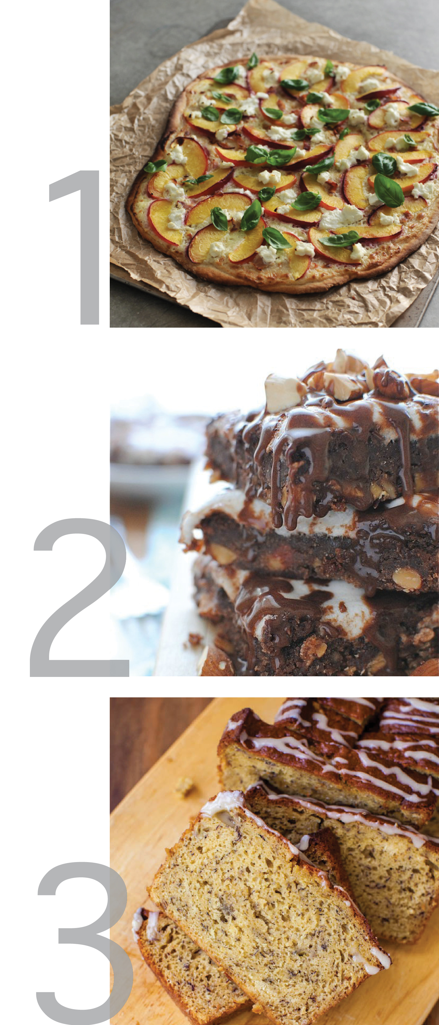 Beautiful photos of flammkuchen, mississippi mud brownies, and banana bread to inspire readers. These three recipes are pinsperation from pinterest.