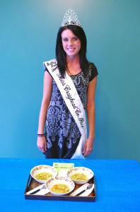 This image shows Bailey Davis with her recipe Farmers Market Soup. Bailey was a contestant in the Miss Arkansas Rice Contest.