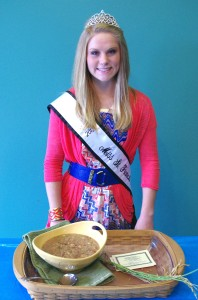 Bailey shows off her gumbo in this photo