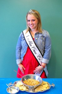 This photo shows Miss Brooklyn Devazier with her recipe Cheesy Rice and Beef. Brooklyn was a contestant in the Miss Arkansas Rice Contest.