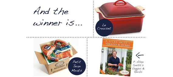a graphic showing a le creuset casserole dish, a box of petit jean meats' products and a book called veggies and herbs by p. allen smith