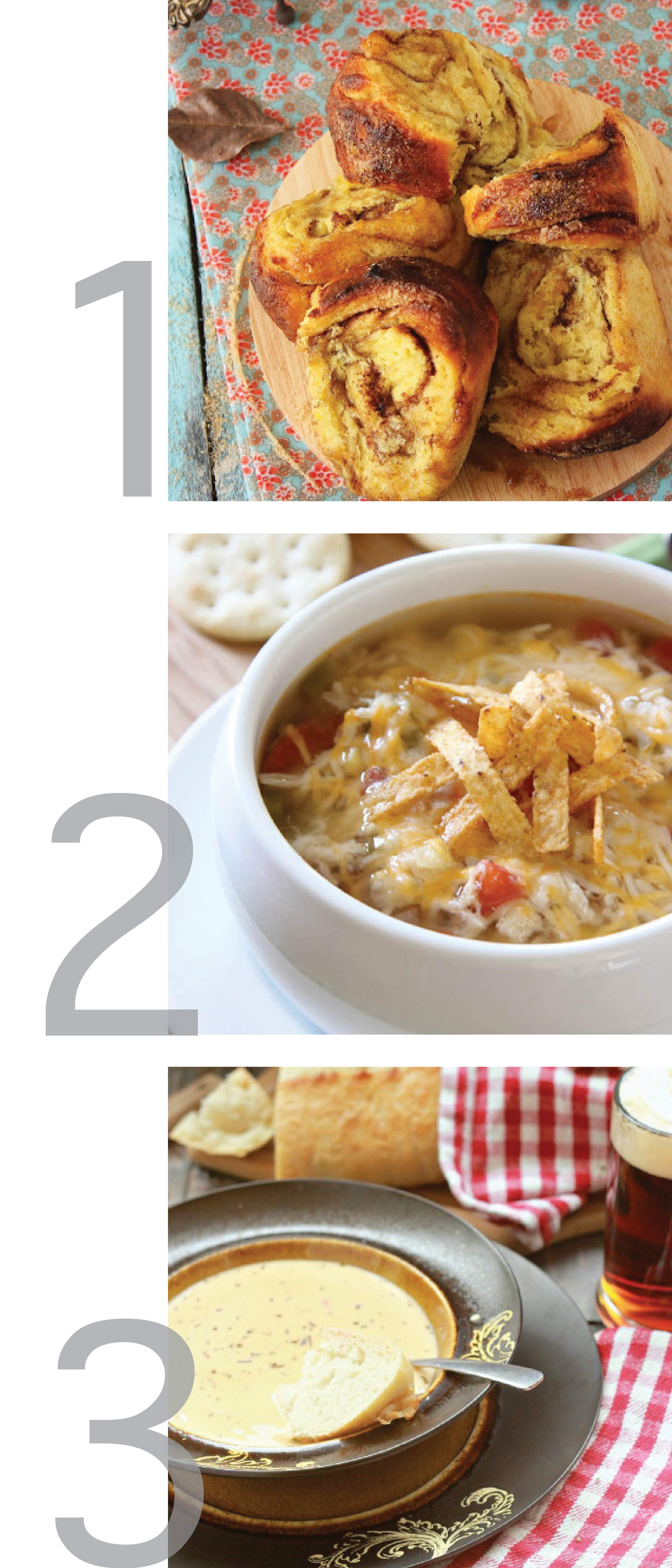 this photo is a clean simple graphic combining images of three recipes: chicken tortilla soup, sweet potato brown sugar cinnamon rolls, and cheddar ale soup