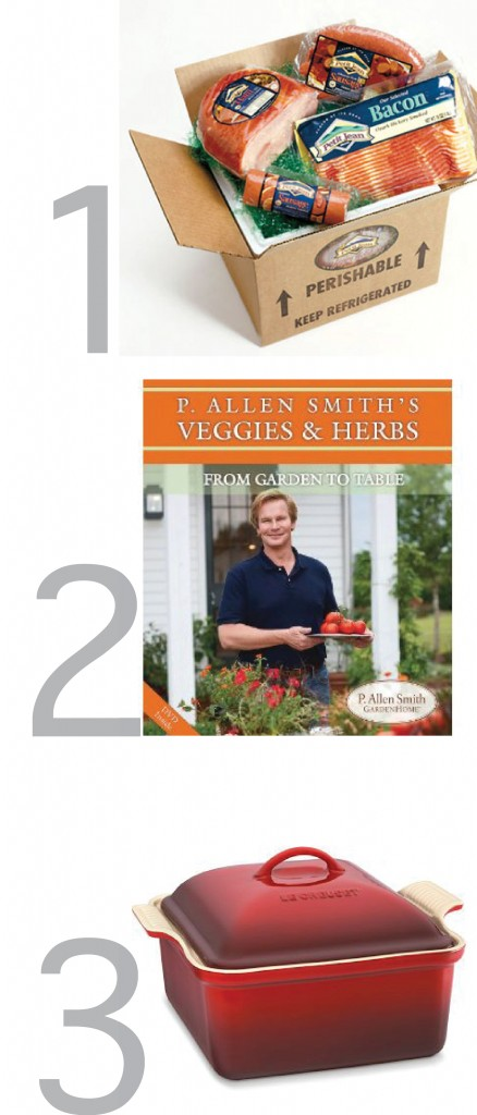 This graphic shows the prizes you could win in this anniversary contest including: le creuset stoneware, petit jean meats and a book by P. Allen Smith.