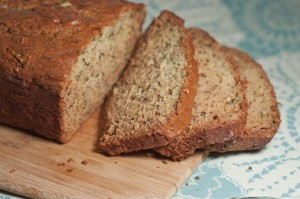 a sliced loaf of succhini banana bread