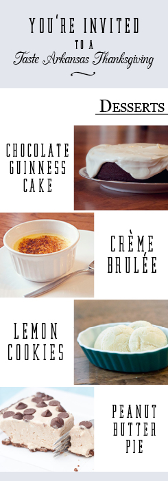 a great graphic showing photos of creme brulee, guinness chocolate cake, lemon cookies and peanut butter pie