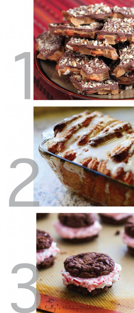this photo is a graphic showing images for pull-apart bread, cookies and toffee