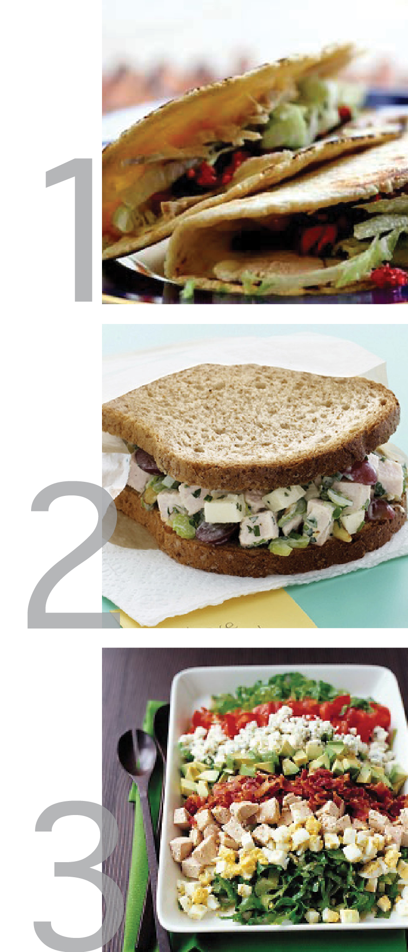 a clean graphic featuring photos of recipes for thanksgiving leftovers including turkey salad sandwiches, turkey tacos with cranberry sauce and turkey cobb salad