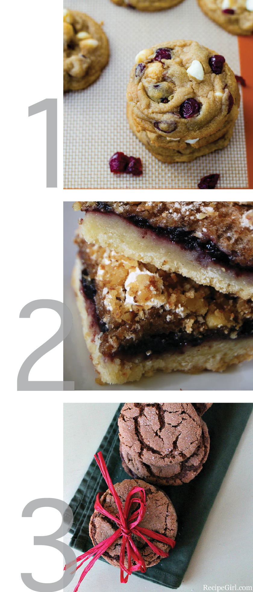 a graphic showing photos of recipes for white chocolate chip cranberry cookies, yugoslavian christmas cookies and ginger snaps