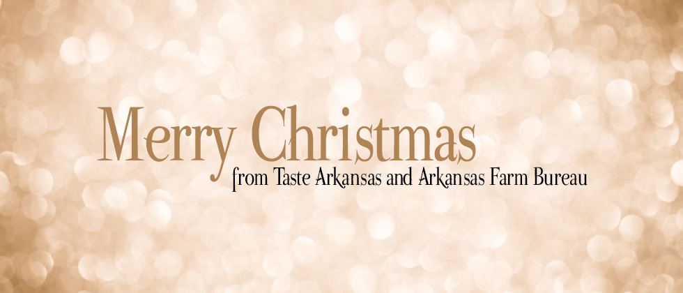 a simple graphic with a sparkly gold background that says Merry Christmas from Taste Arkansas and Arkansas Farm Bureau
