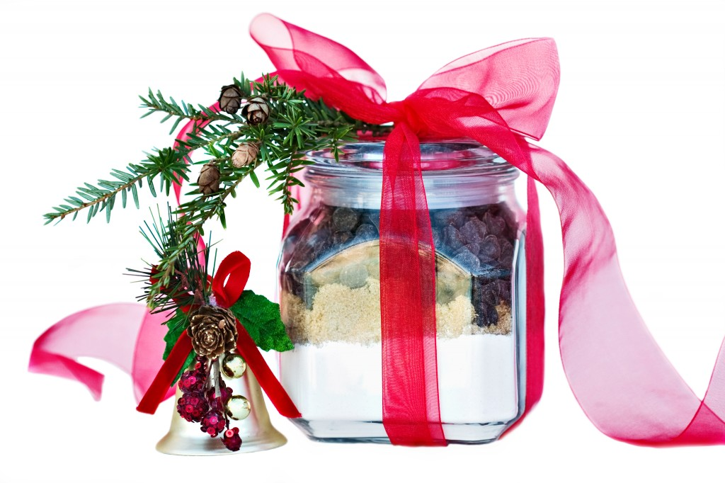 this is a photo of chocolate chip cookies in a jar for a christmas gift