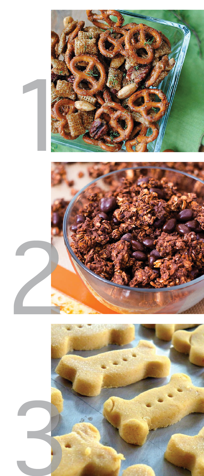 this is a clean designed graphic showing pins from pinterest for triple chocolate granola crunch, pumpkin dog biscuits and sweet and spicy pretzel mix