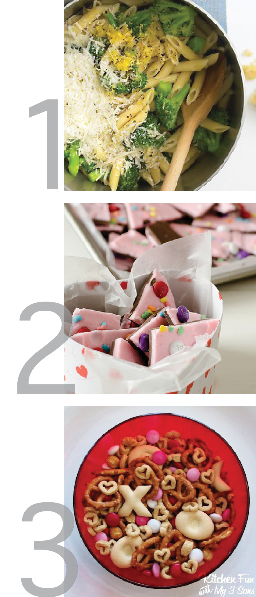 a pretty graphic showing valentines day treats and a one pot pasta recipe