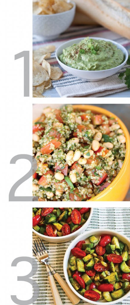 a simple graphic with photos of broccomole, tomato basil quinoa salad and avocado tomato salad