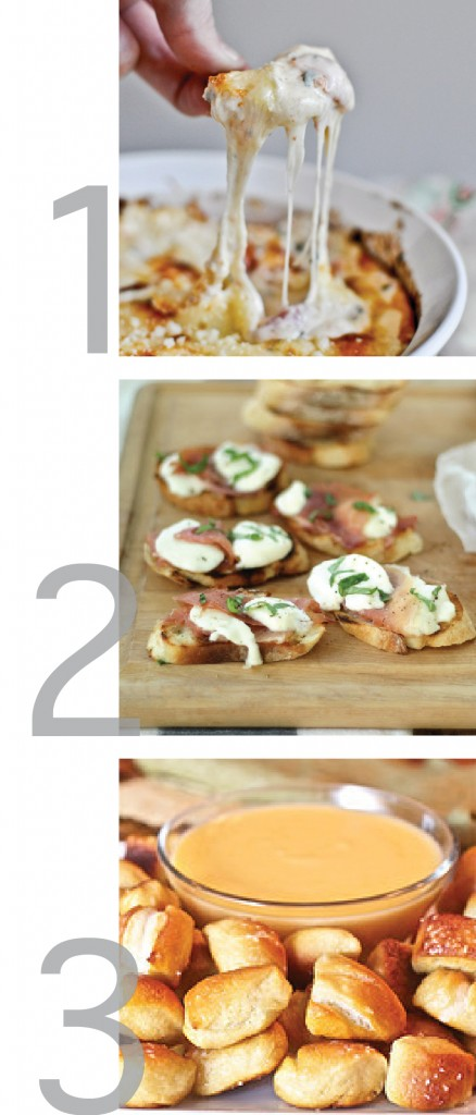 a simple graphic that has pictures of recipes from pinterest for super bowl foods, including: white pizza dip, pretzel bites and garlic toasts with mozzarella and prosciutto