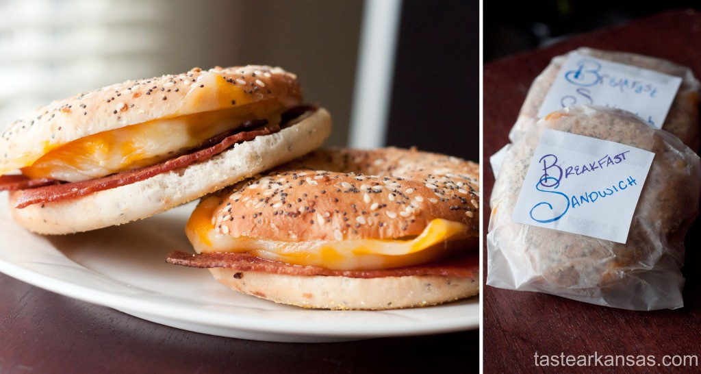 a plate of warm, homemade bacon, egg and cheese bagel sandwiches