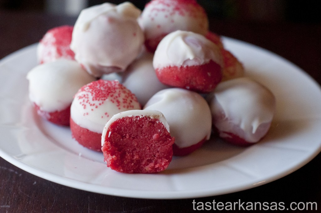 A plate of banana cake balls dyed red for Valentine's Day