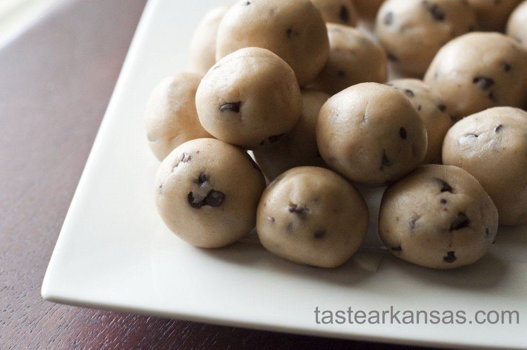 this image is of a plate of cookie dough bites that have no eggs and don't require any baking
