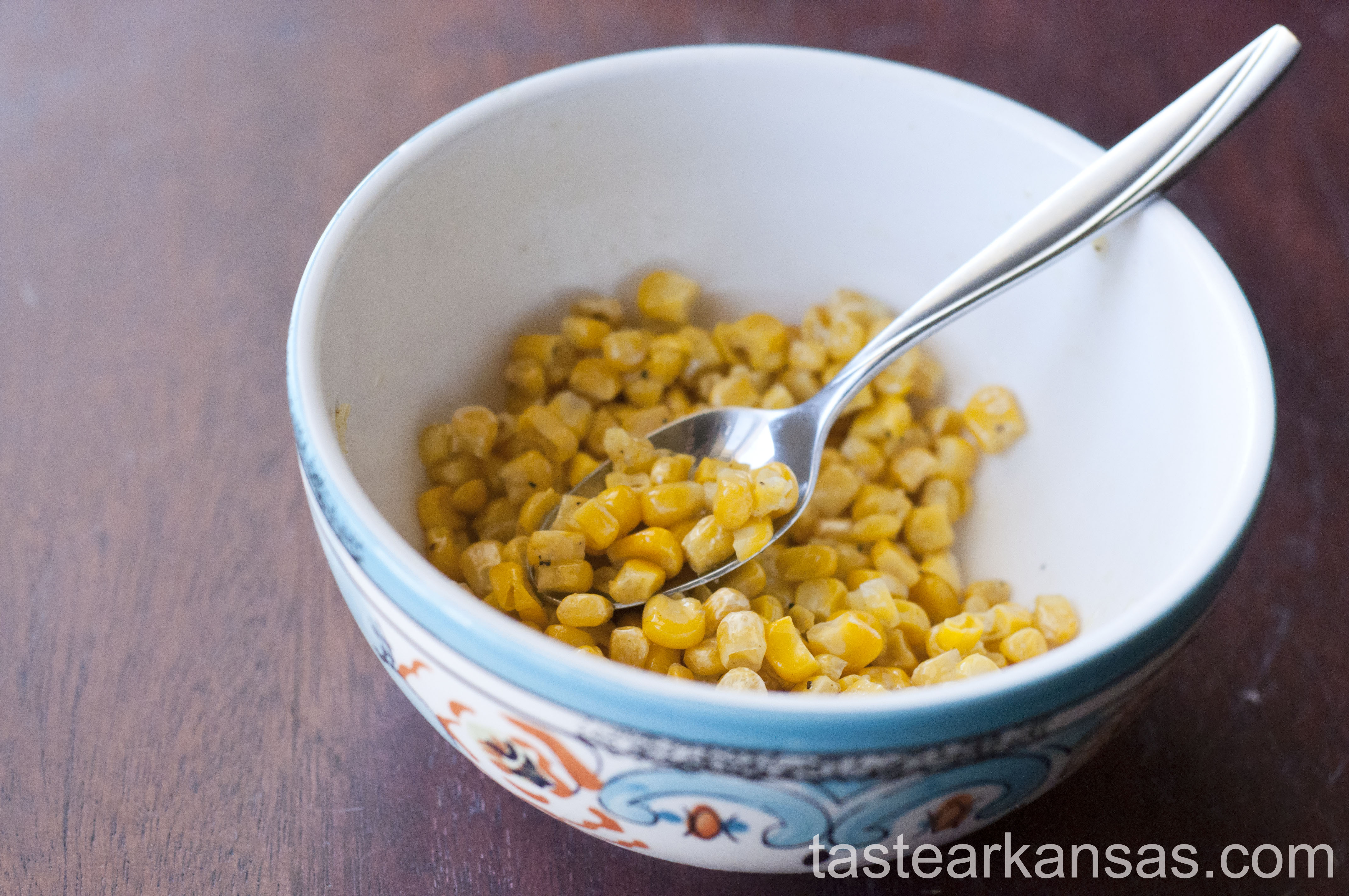 this is an image of a bowl of roasted corn