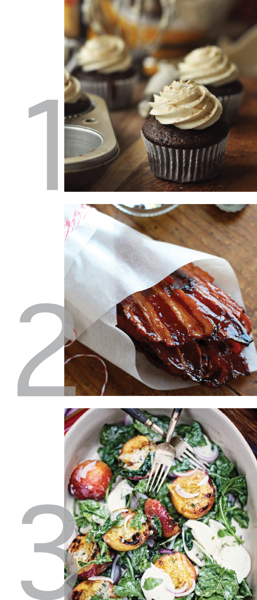 this photo is collage of this week's Weekly Pinspiration for Irish Coffee Cupcakes, Maple-Candied Bacon and Grilled Peach salad