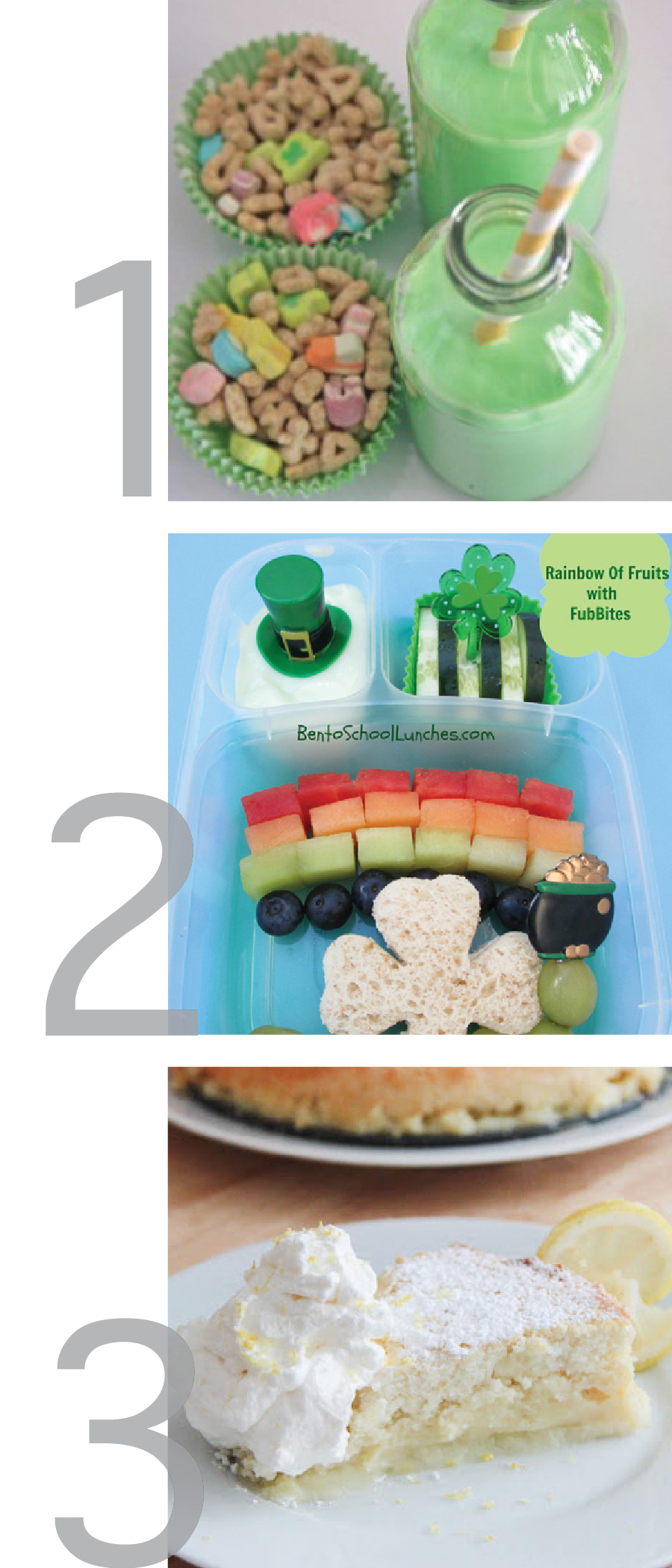 this photo is a graphic of images of the following st. patrick's day recipes, leprechaun breakfast, st. patrick's day bento lunch box and irish lemon pudding