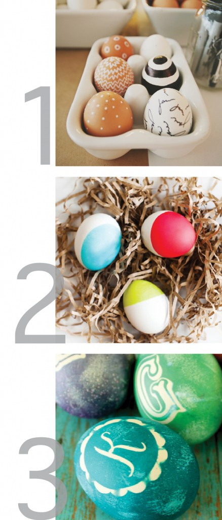 this is a graphic with photos of three different ideas for decorating easter eggs