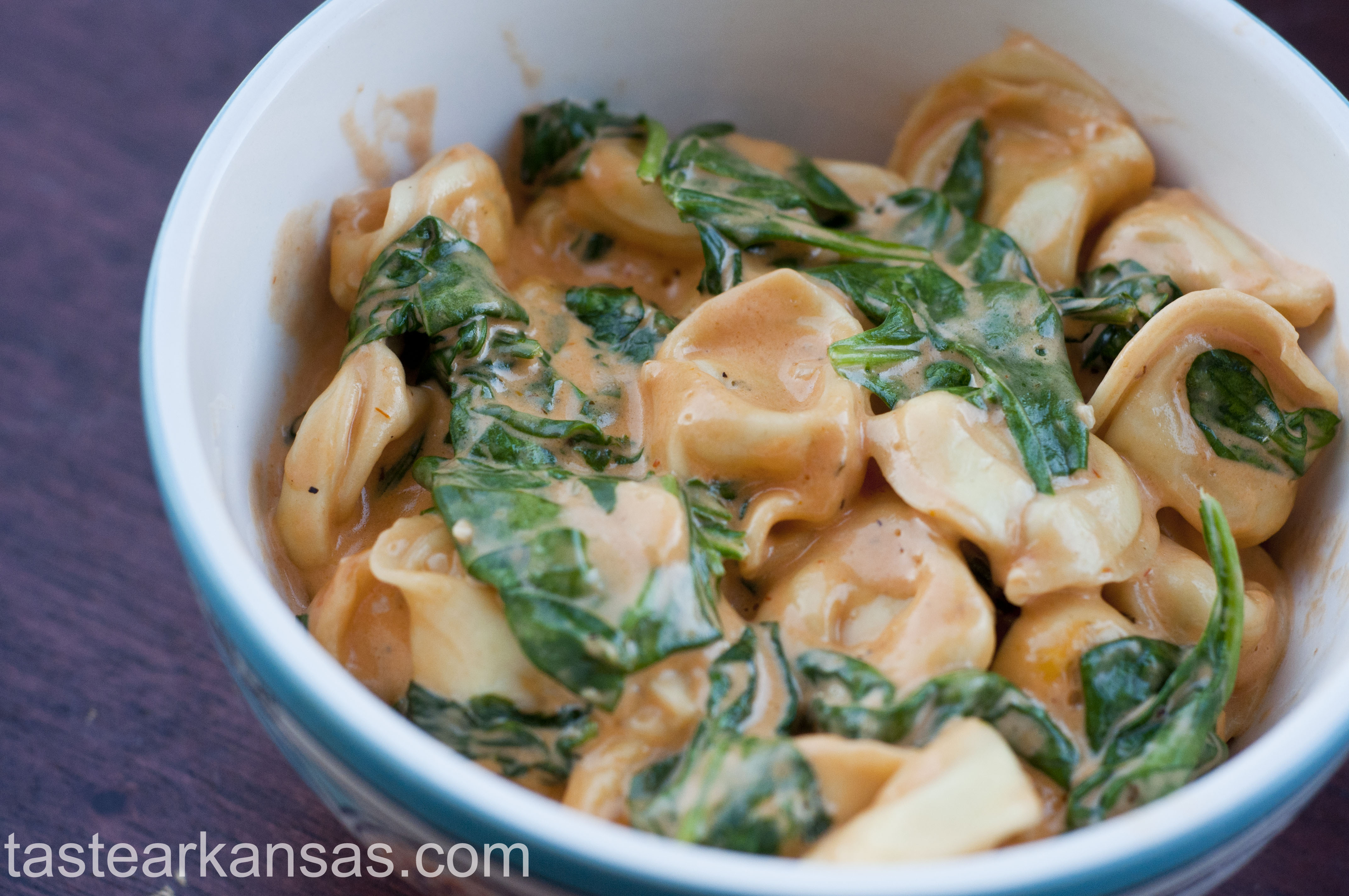 Garlic Tomato Cream Sauce with Tortellini and Spinach