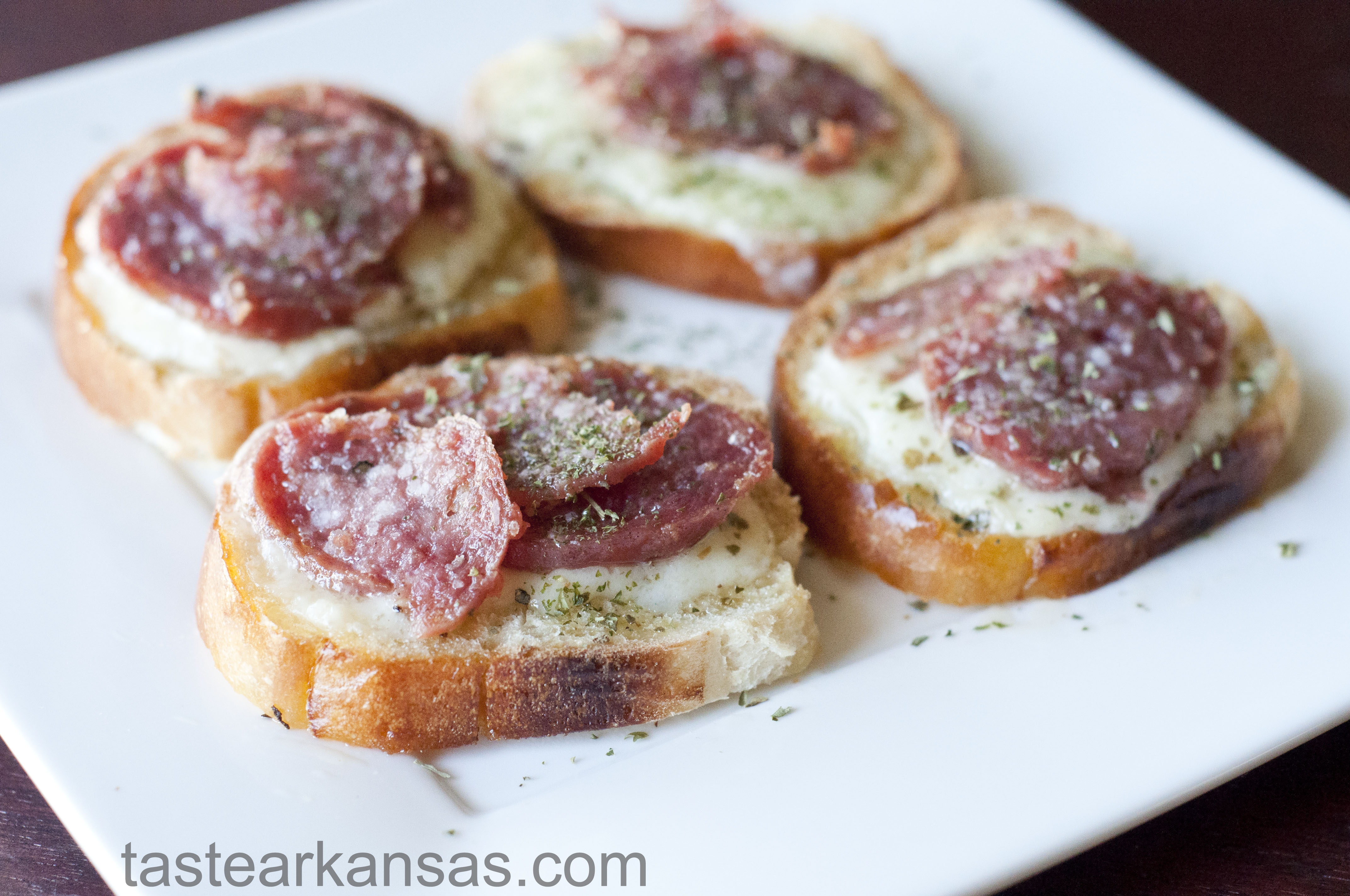 Salami and Havarti Crostini