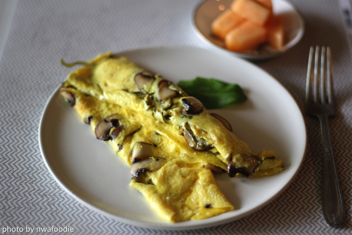 fresh sorrel and mushroom omelet