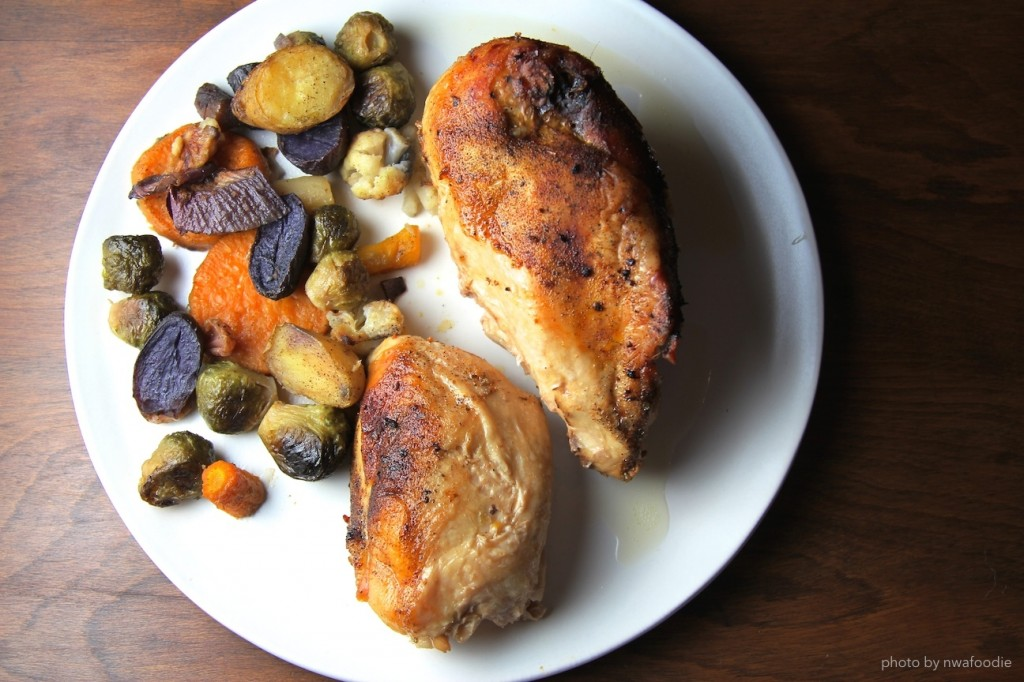 rustic roasted vegetables on plate