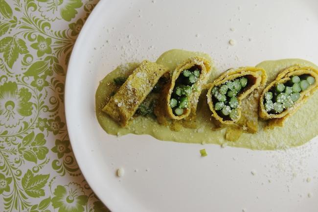 Asparagus omelet rolls - on plate