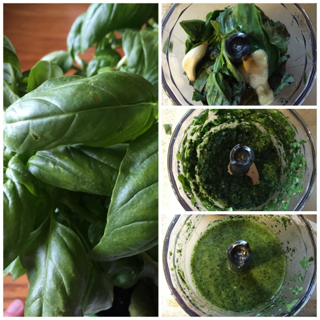 basil vinaigrette collage