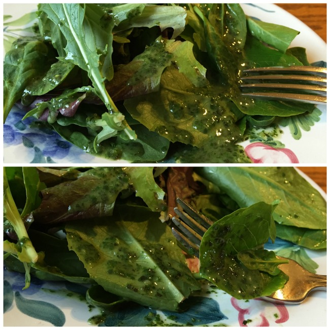 basil vinaigrette with spring greens