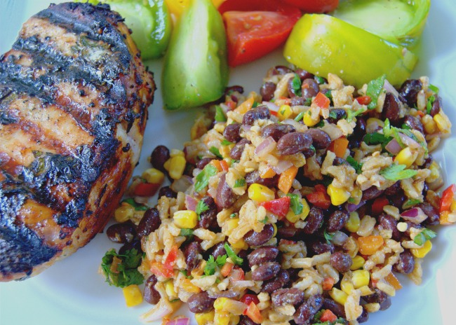 arkansas rice, corn black bean salad dinner