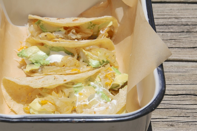 sweet onions and avocado tacos
