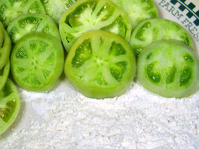 Fried green tomatoes sliced tomatoes