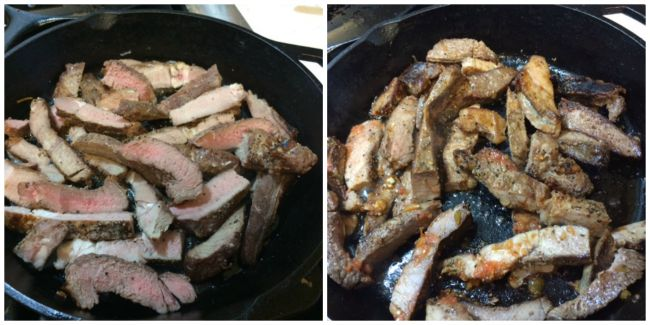 Steak strips in skillet
