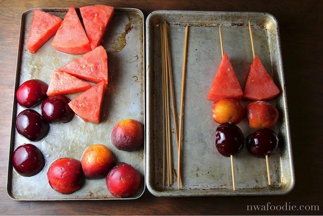 grilled fruit skewer - prep