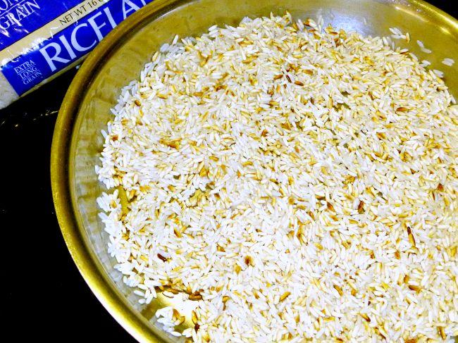 FB Taste Ark Loaded Fried Rice browning in pan