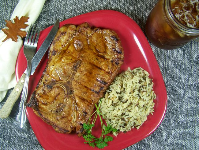 FB grilled pork steaks on plate resized