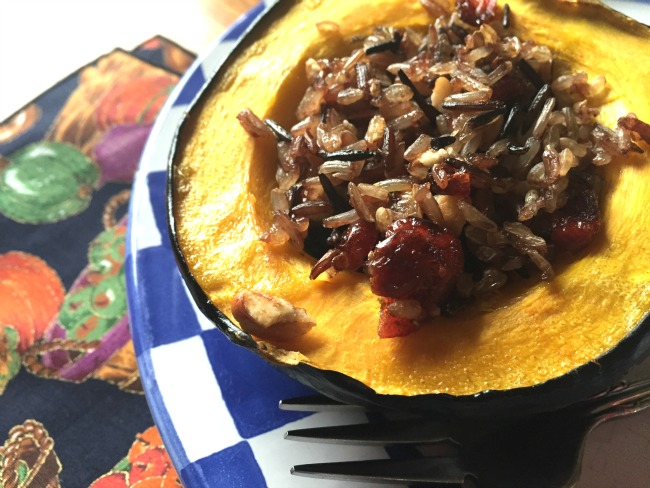 cranberry pecan wild rice stuffed acorn squash
