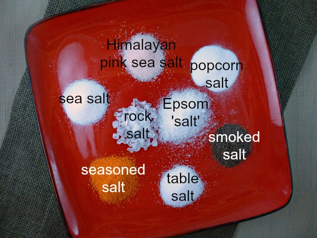 FB salt on red plate with labels