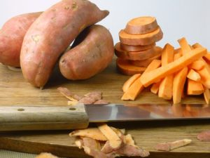 FB sweet potatoes on cutting board