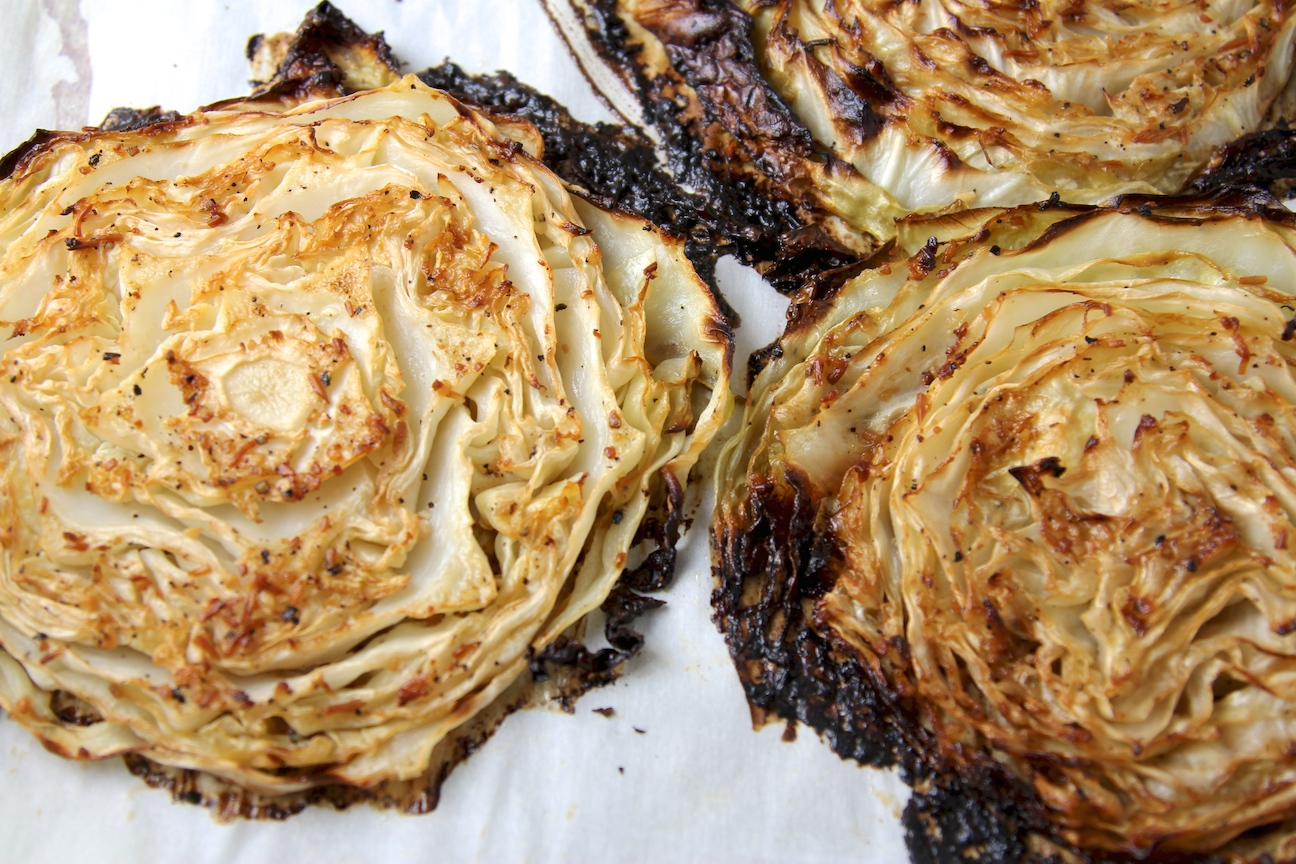 oven-roasted cabbage wedges