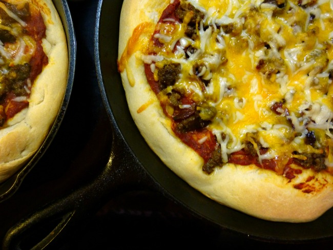 FB Taste ARk Mar Pork Lovers Skillet pizza 2 pans
